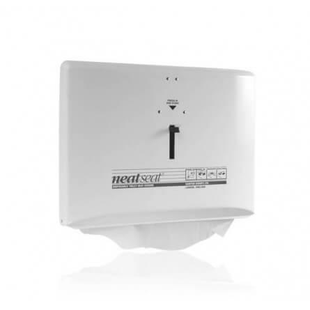 Distributeur de couvres lunettes de toilette NEAT SEAT métal blanc