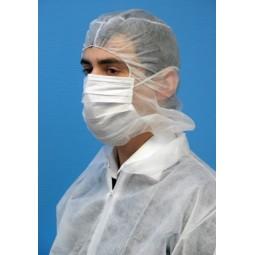 Cagoules en non tissé blanc avec masque a barrette et élastique au front