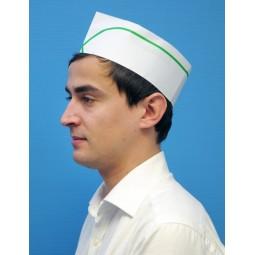 Calots à soufflet en papier blanc réglable avec liseré vert