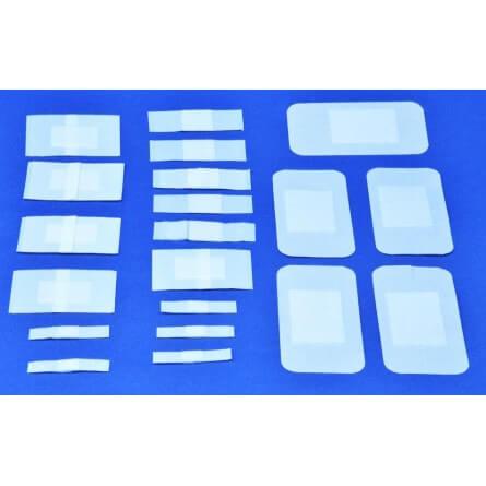 Sachet de 20 pansements non tissé blanc avec compresse forme rectangulaire