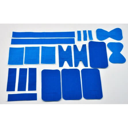 Sachet de 20 pansements tissés bleus assortis
