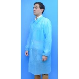 Blouse jetable bleu clair avec fermeture pressions, poche et poignets élastiqués T.XXL
