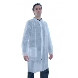 blouse jetable blanche avec fermeture glissière et poche taille XL