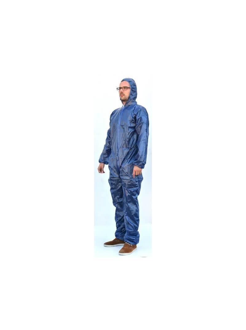 Combinaison jetable imperméable bleue à capuche T.XL