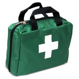 Trousse de secours souple verte rectangulaire à main avec produits inclus randonnées, loisirs, école, centres aérés