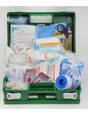 Trousse de secours verte en plastique à main agroalimentaire et restauration produits inclus