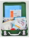 Trousse de secours artisans verte en plastique à poignée produits inclus