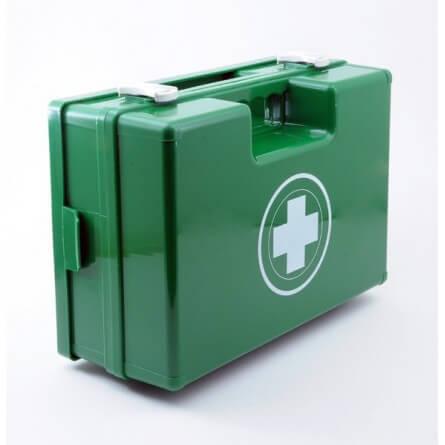 Trousse de secouriste urgence grand modèle verte en plastique à poignée produits inclus