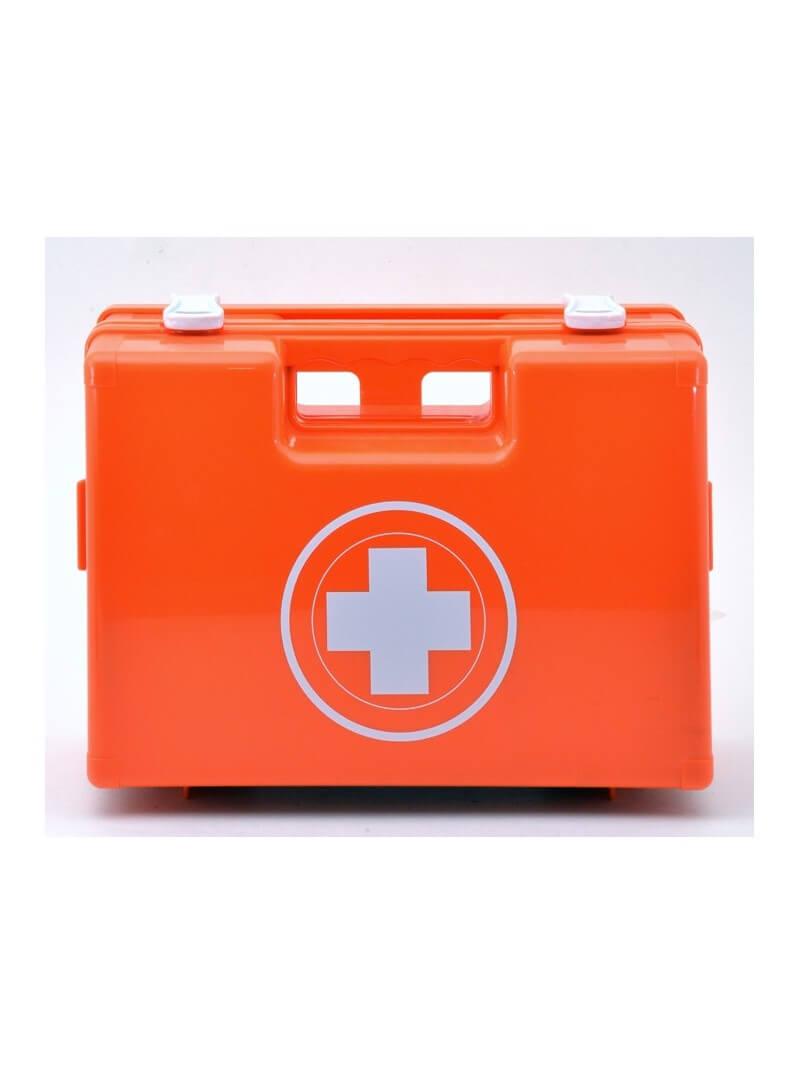 Trousse de secours 50 personnes rouge en plastique à poignée produits inclus