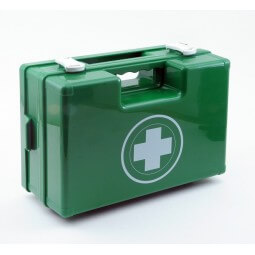 Trousse de secours secouriste verte en plastique à poignée produits inclus