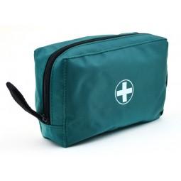 Trousse de secours zippée en toile verte vide