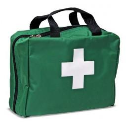 Trousse de secours verte souple à compartiments garnie avec fermeture à zip