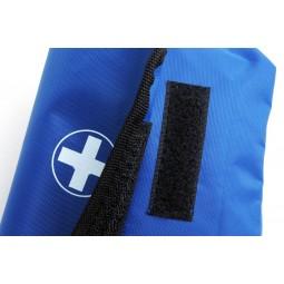 Trousse de secours à rabat en toile vide bleue fermeture à scratch