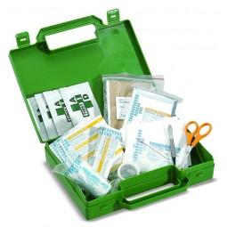 Trousse de secours bureau verte en palstique à poignée produits inclus