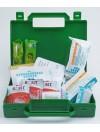 Trousse de secours rigide compacte verte en plastique à poignée pour véhicule avec 2 éthylotests