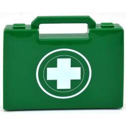Trousse de secours urgence pour 1 à 5 personnes  verte à poignée fermeture à clip produits inclus