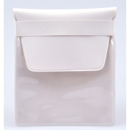 Pochette PVC blanche 80x95mm avec rabat