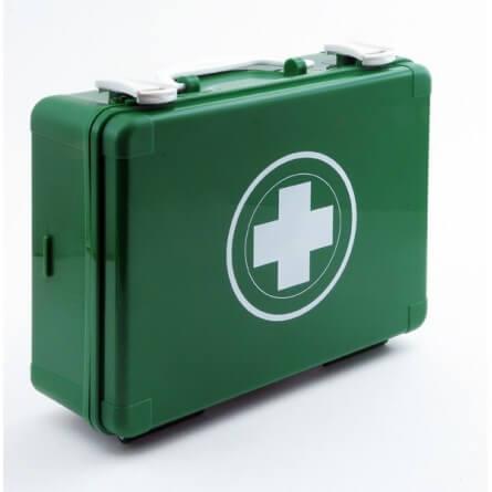 Trousse de secours verte en plastique à main école, loisirs et EPLE avec produits inclus