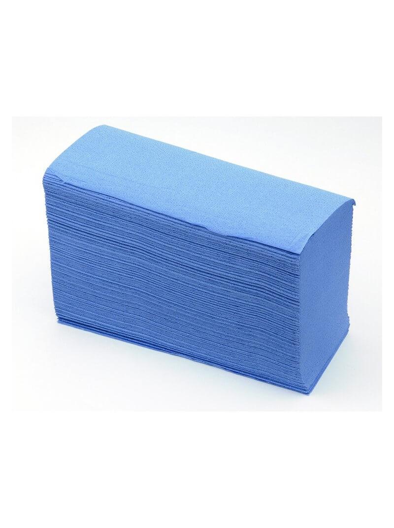 Essuie-mains enchevetré Z gaufré bleu double épaisseur