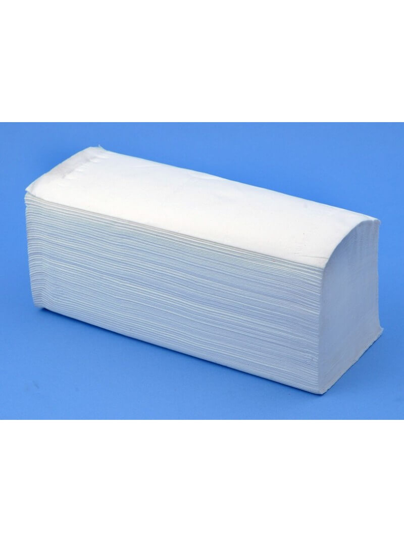 Essuie-mains enchevetré W lisse blanc 22x34cm double épaisseur