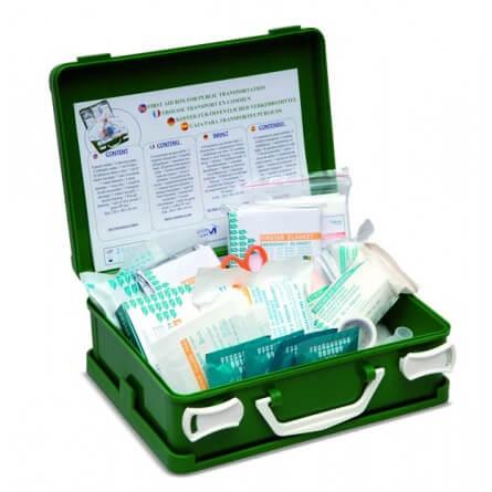 Trousse de secours transport en commun verte en plastique rigide à poignée produuits inclus