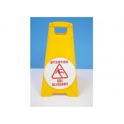 Panneau de signalisation sol glissant chevalet jaune