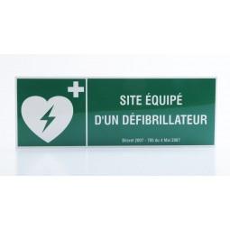 """Panneau de signalisation """"Site équipé d'un défibrillateur"""""""