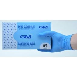 Gants latex bleu micro poudrés T.L(8/9)