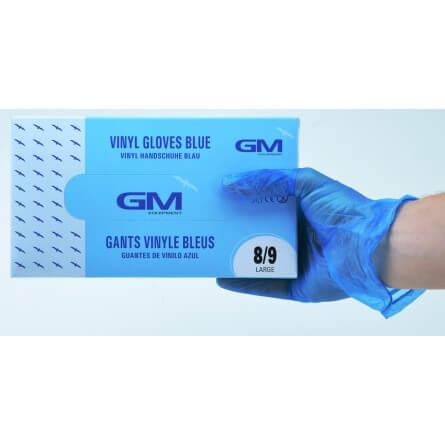 Gants d'examen vinyle bleu T.L (8/9) micro poudrés