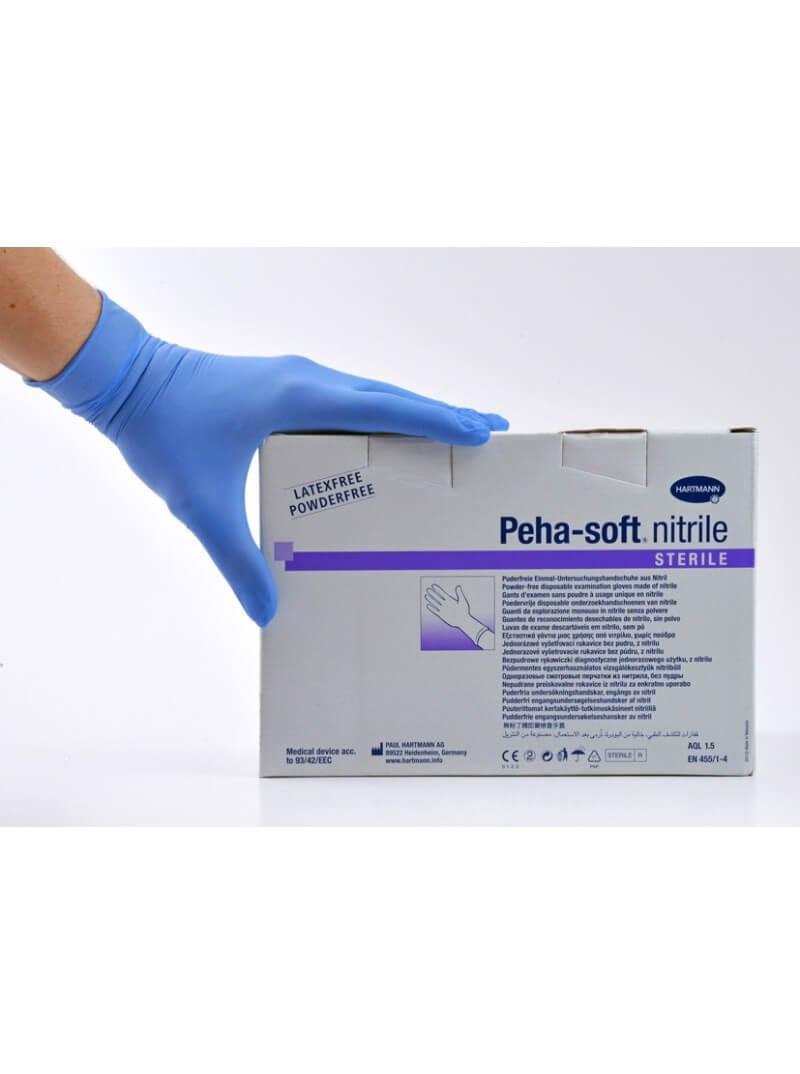 Gants stériles en nitrile bleu PEHA SOFT HARTMANN T.L 8/9 non poudrés