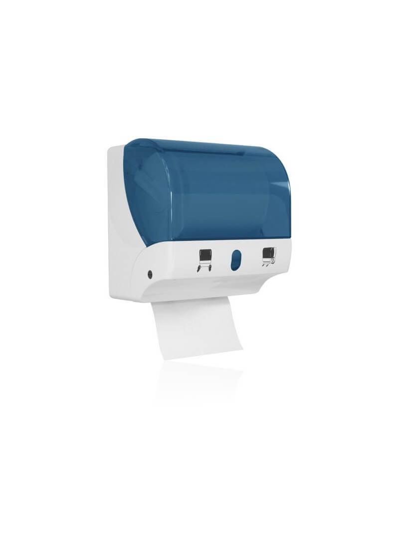Distributeur d'essuie mains pour bobines à dévidage latéral en ABS blanc