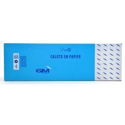 Calots à soufflet en papier blanc réglable avec liseré bleu