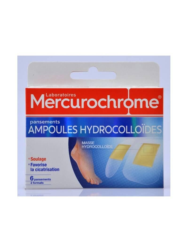Boîte de 6 pansements hydrocolloïdes ampoules Mercurochrome