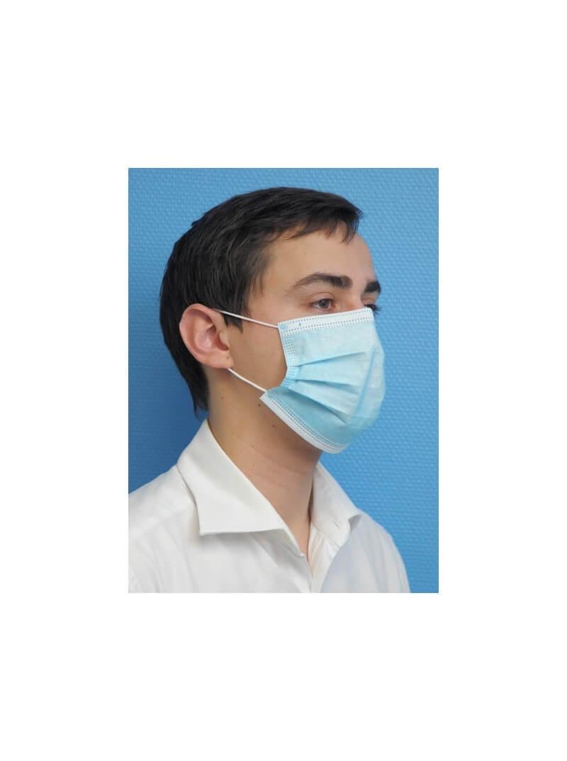 Masques chirurgicaux TYPE 1 bleus non tissé usage unique 3 plis