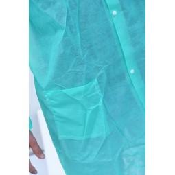 Blouse visiteur verte avec fermeture pressions et poignets élastiqués T.XXL
