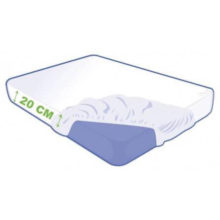 Alèse jetable housse 140x190x20cm matière non tissé blanche avec extrémités élastiqués