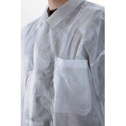 Blouse jetable blanche avec fermeture pressions et poche T.L