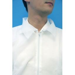 Blouse jetable blanche avec fermeture glissière et poignets élastiqués T.L