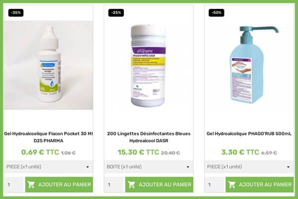 exemple de produits en promotion sur le site prorisk